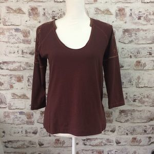 Madewell Burgundy Embroidered Stitching Blouse